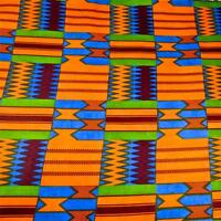African Kente Print Wax Dyed Veritable Cloth, Cotton, Blue Green,burgundy & Gold
