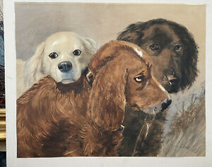19th CENTURY VICTORIAN WATERCOLOUR OF DOGS signed L. Cheviot