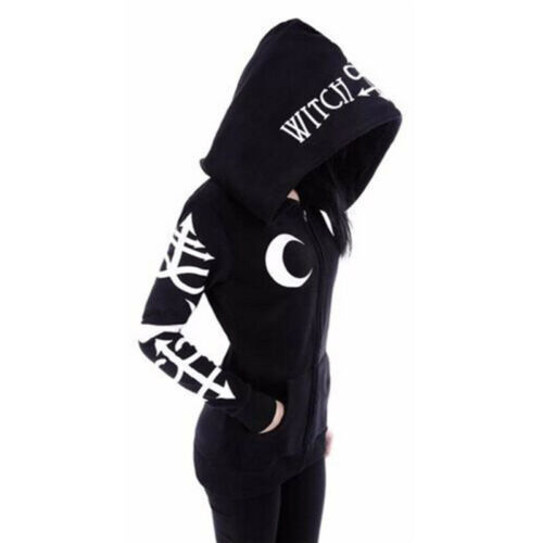 Women/'s Sweatshirt Style Print Hood Gothic Punk Casual Long Sleeve Hoodies To EV