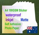 20sheets A4 190GSM Inkjet Waterproof Sticker Adhesive Matte Photo Print Paper