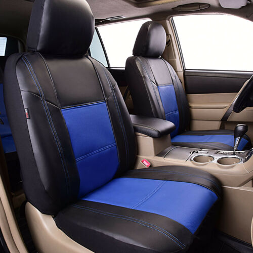 Universal Blue PU Leather Car Seat Covers Fit Split Rear Seat Cup Holder Airbag