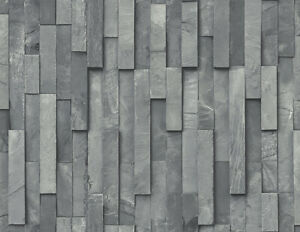 Wallpaper-Designer-Gray-Black-Vertical-Stacked-Stone-SMOOTH-not-Textured