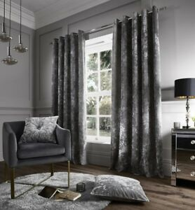 Catherine-Lansfield-Crushed-Velvet-eyelet-Curtain-amp-Cushions-in-Silver