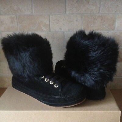 377389e1475 UGG Antoine Fur Black Suede Sheepskin Cuff Boots Shoes Size US 6 Womens    eBay