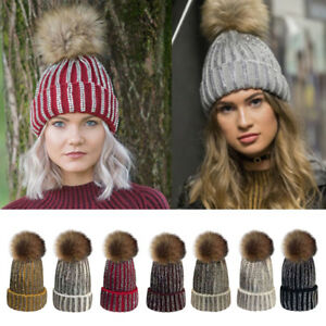 Women Crystal Diamante Pom Beanie Bobble Hat large Fur Knitted Hat ... bb0f1d6c94c