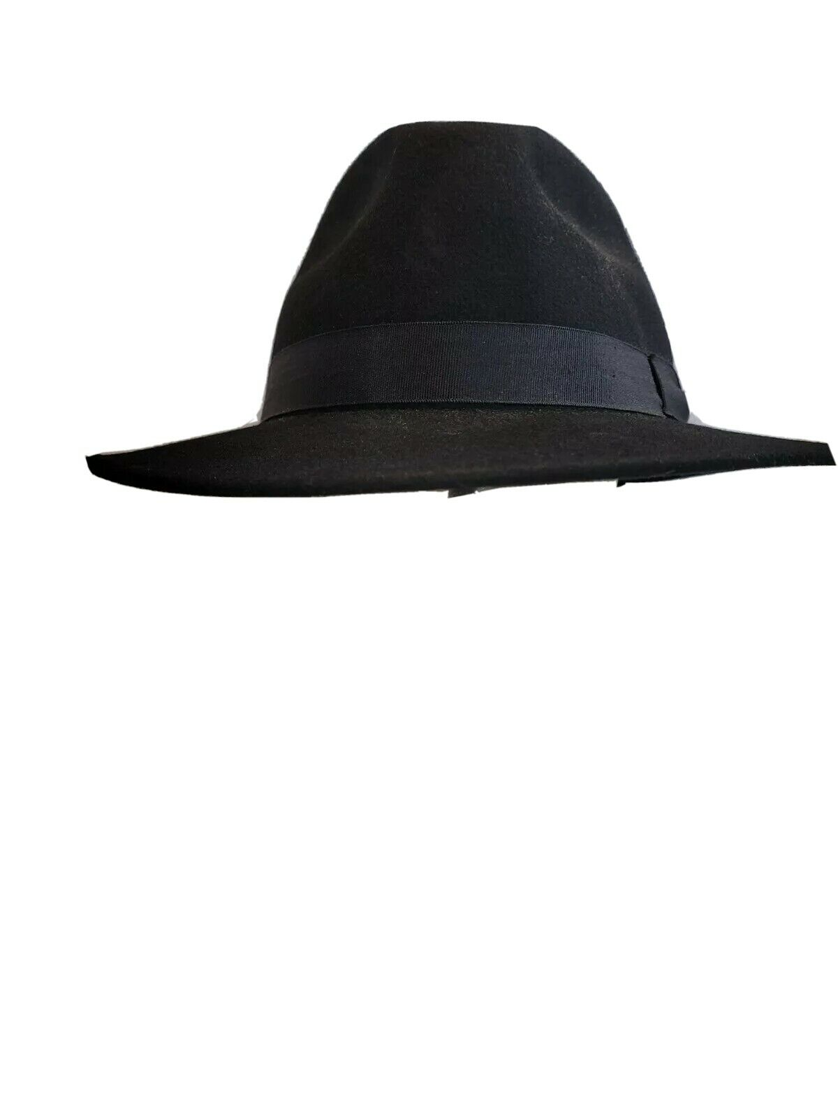 VTG Ideal Chic SIZE L 100% Black Fedora Wool Hat Made In The USA.