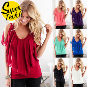Womens-Fashion-Off-Shoulder-Blouse-Chiffon-T-Shirt-Ladies-Summer-Beach-Tops