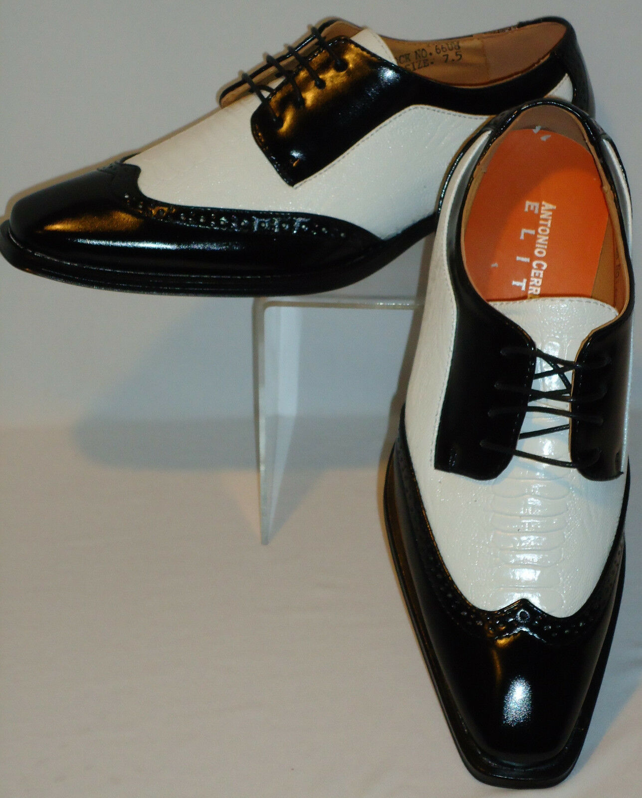 Homme Noir Blanc Look Vintage Robe Chaussures ANTONIO CERRELLI 6608 Taille 9.5
