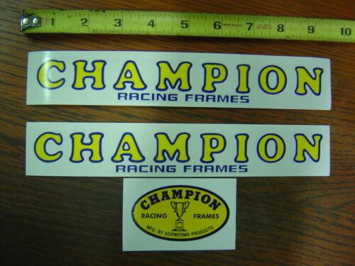 Champion Racing Frames Decals Stickers Doug Schwerma BMX Flat Track Oval 3 pc
