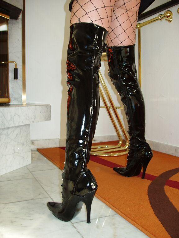 Barniz Stiletto tacón alto botas altas negro 38 sexy elegante