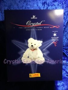 Steiff White Mohair Teddy Bear Crystal 668401 w/Swarovski 2005 Ornament, #6702