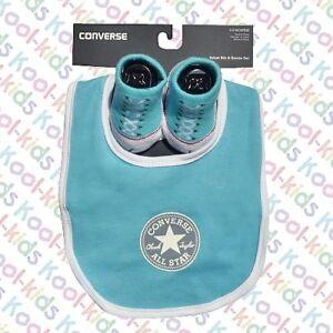 138258458d31e0 Baby Converse Aqua Logo Bib And Soft Knit Bootie Set 0 6 Months ...