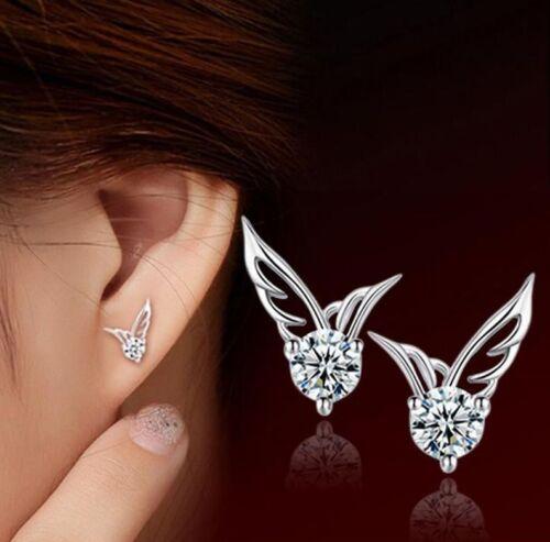 Crystal 925 Sterling Angel Wings Butterfly Ear Stud Silver Ladies Girls Earrings