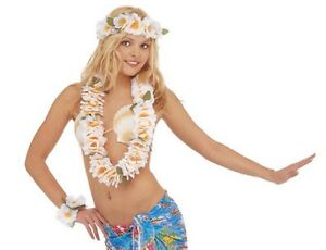 Set-Costume-Hawaiana-Collana-Corna-e-Bracciale-Floreale-Bianco-PS-08183-Carnev