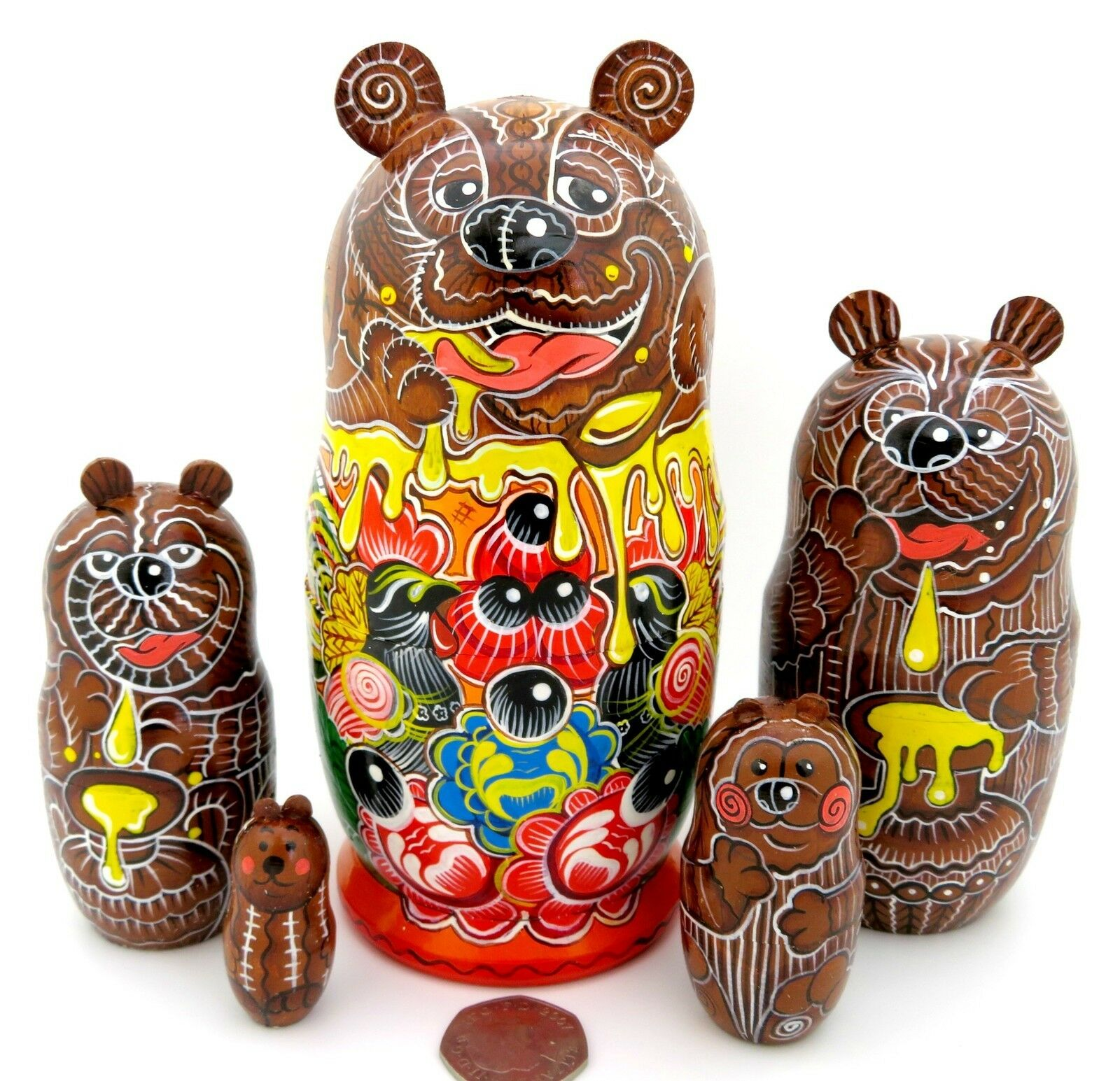 Poupée russe de nidification Matryoshka Babushka marron Bear Family peint à la main matt