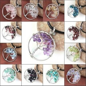 Natural-Gravel-Gemstone-Tree-of-Life-Round-Pendant-Leather-Cord-Pendant-Necklace