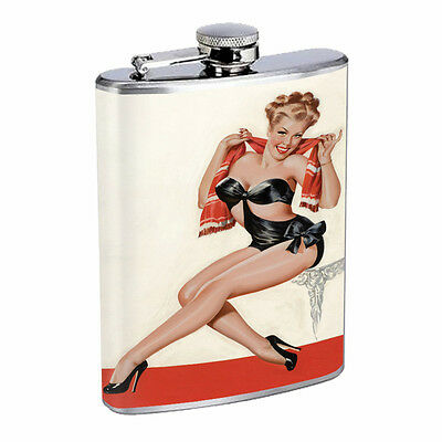 Japanese Pin Up Girls D13 Flask 8oz Stainless Steel Hip Drinking Whiskey