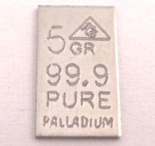 Palladiumbarren 5 GR. = 0,324 Gramm (99,9 Feinpalladium Barren Palladium Pd) NEU