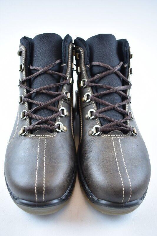 botas de cuero para atar mediante cordón en marrón oscuro impermeable & transpirable