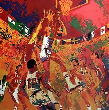 "LEROY NEIMAN BOOK PRINT ""OLYMPIC BASKETBALL""  AMERICAN TEAM MONTREAL 1976"