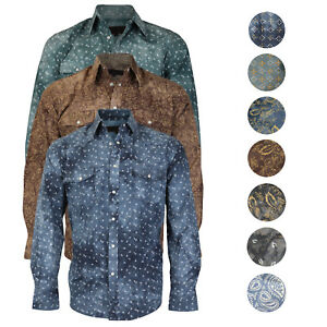 LW-Men-039-s-Western-Cowboy-Pearl-Snap-Long-Sleeve-Slim-Fit-Rodeo-Casual-Dress-Shirt