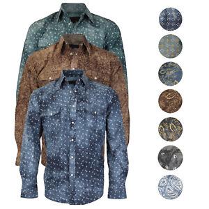 de6e626e863 Details about LW Men s Western Cowboy Pearl Snap Long Sleeve Slim Fit Rodeo  Casual Dress Shirt
