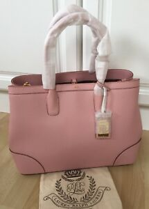 RALPH LAUREN TEA ROSE FAIRFIELD CITY SHOPPER LEATHER TOTE HANDBAG LG ... d976c46813