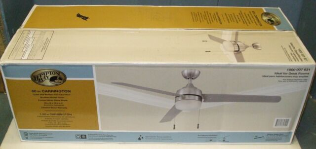 "Hampton Bay Carrington 60"" in. Indoor/Outdoor Brushed Nickel Ceiling Fan"