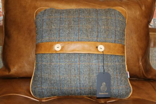 HARRIS TWEED UIST NIGHT /& BROWN ANILINE LEATHER SCATTER CUSHION