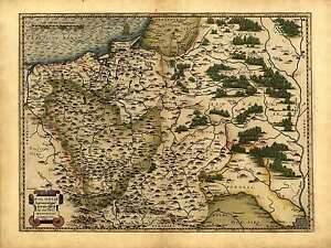 Abraham Ortelius Reproduction Vintage Antique Old Map Poland