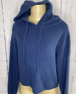 Victoria-039-s-Secret-PINK-Hoodie-Crop-Pullover-Ribbed-Soft-Sweater-Women-Sz-XS-Blue