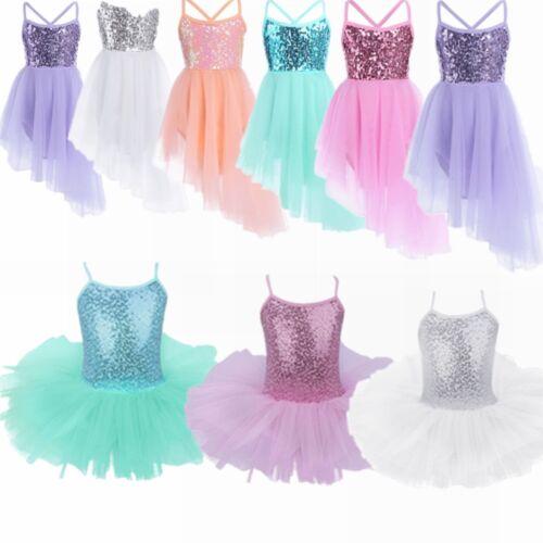 Kids Girls Ballet Dance Tutu Dress Gymnastics Leotard Skirt Lace Dance Costumes