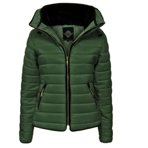 Ladies-Puffer-Padded-Quilted-Fur Collar-Jacket XS 5XL