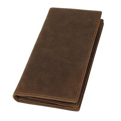 Men Leather Long Wallet Bifold ID Card Holder Billfold Clutch Purse Zip Pocket