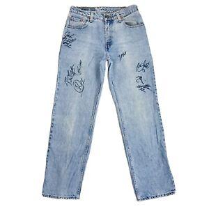 Vintage-Levi-039-s-555-Donna-Blu-Regular-Taglio-Dritto-Autografata-Jeans-S-W28-L32