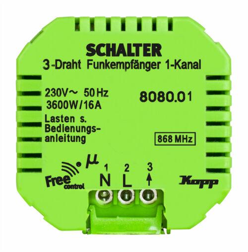 Kopp Free-control® Funk-Empfänger 1 Kanal   3-Draht Schaltkontakt Neuware    Hervorragende Eigenschaften