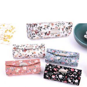 New-Retro-Brocade-Embroidered-Flower-Design-Lipstick-Case-Holder-Box-With-Mirror