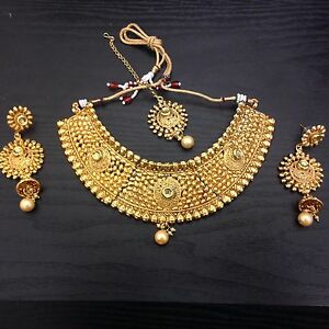 New-Designer-Indian-Bollywood-Costume-Jewellery-Necklace-Set- : gold costume jewellery  - Germanpascual.Com