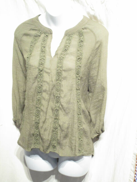 Women's About a Girl Green 3/4 Sleeve Crochet Lace Front Rayon Polyester Size L
