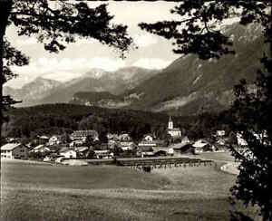 Marquartstein Bayern s/w Postkarte 1965 Gesamtansicht mit Blick auf die Alpen