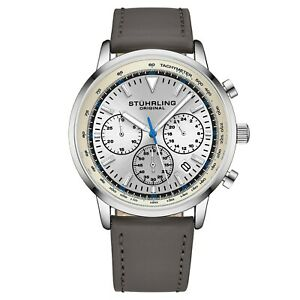 Stuhrling-44-mm-Muscle-Movement-Chronograph-9-5-mm-Leather-Strap-Men-039-s-Watch