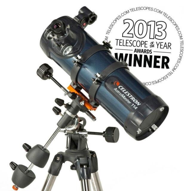 Celestron AstroMaster 114EQ Reflector Telescope Planetarium Software Tripod NEW