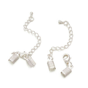 100 Brass Lobster Claw Clasps Set w/ Fold Over Cord Ends Extender Chains Silver