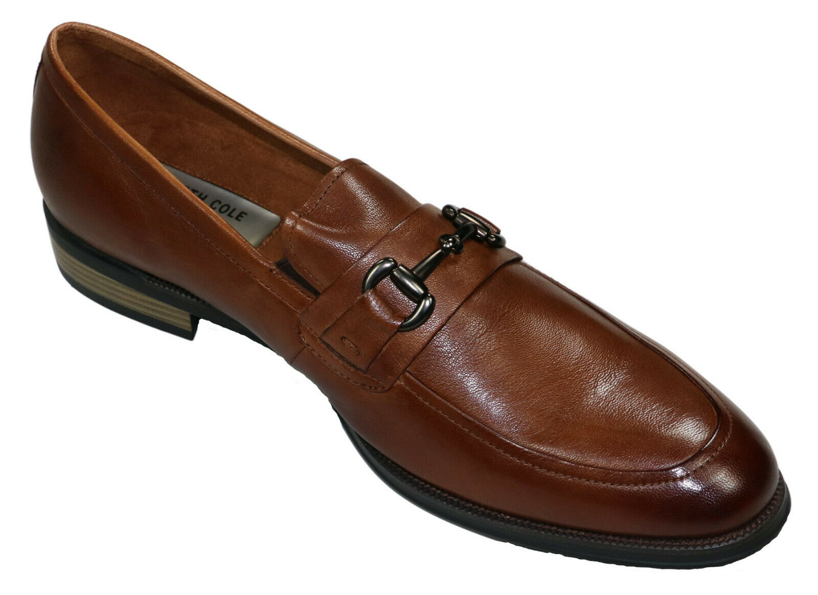 Kenneth Cole New York Genuine Leather Men's Brock Bit Loafer Size 13 NIB Cognac