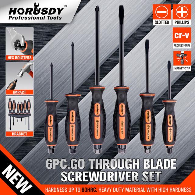 6Pc Thru Screwdriver Set Hammer Impact Hex Magnetic Tips Rubber Grip Handle CRV