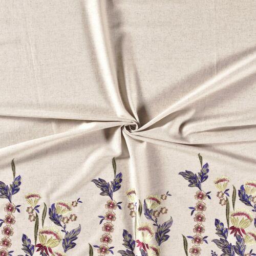 Leinen Viskose Mix Stoff bestickt Blumen Halbleinen Bordüre Bekleidung Deko