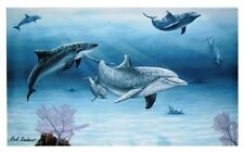 "Dolphin Family Canvas Ocean Sea Life Wall Plaque Decor 13x20x1.5"" for Hanging"
