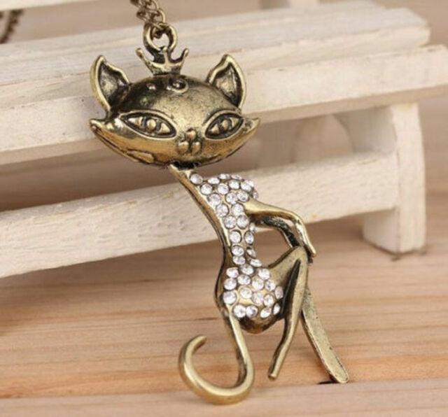 fashion Retro Sexy Cat Girl Crystal Rhinestone Long Women Chain Pendant Necklace