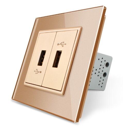 USB Prise de courant pour charger des périphériques USB avec glasrahmen vl-c792u-13 Gold 2 positions