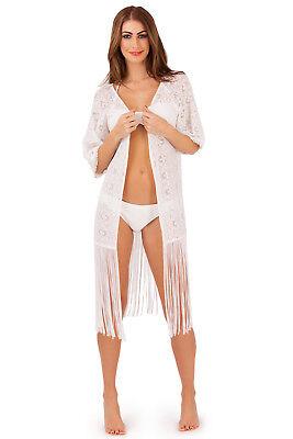 Analytisch Womens Crochet Kimono Boutique Ladies Long Tassel Trim White Beach Cover Up Top üBerlegene Leistung